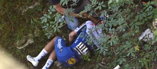 Evenepoel, caduto al Giro di Lombardia per fortuna senza gravissime conseguenze.