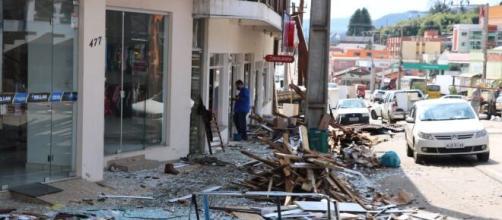 Imagem do município de Água Doce, em Santa Catarina, após passagem de tornado em Santa Catarina. (Reprodução/Redes Sociais)