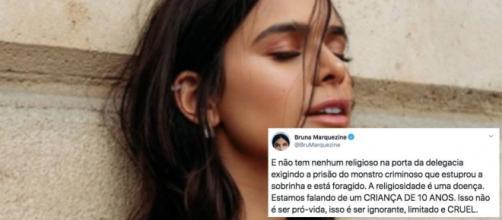 Bruna Marquezine se revoltou com a exposição da menina. (Fotomontagem)