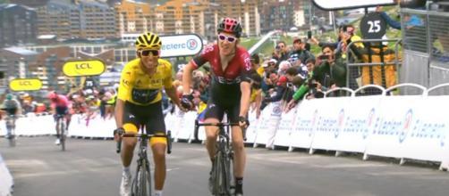 Egan Bernal e Geraint Thomasl al Tour de France dello scorso anno.