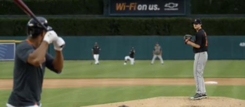 Mize pitching at Comerica Park. [Image Source: Detroit Tigers/YouTube]
