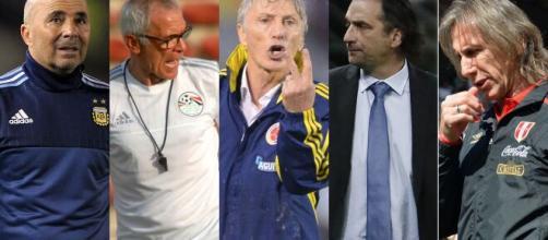 Sampaoli, Cúper, Pekerman, Pizzi e Gareca foram os treinadores que estiveram na Copa do Mundo de 2018, na Rússia. (Arquivo Blasting News).