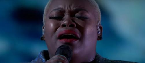 """Cristina Rae crowns """"America's Got Talent"""" with her performance of """"Hallelujah"""" in the quarterfinals.[Image source: AGT-YouTube]"""