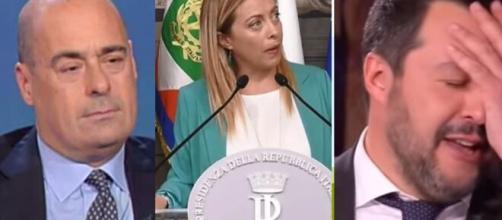Nicola Zingaretti, Giorgia Meloni e Matteo Salvini.