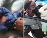 Bebê foi resgatado por moradores que ouviram seu choro. (Fotomontagem)