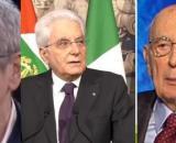 Mario Giordano, Sergio Mattarella e Giorgio Napolitano.