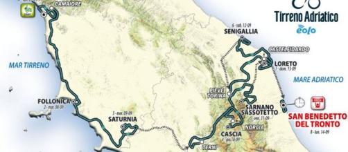 Il percorso della Tirreno - Adriatico 2020.