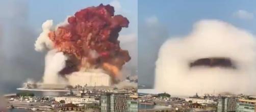 El estremecedor hongo formado por la explosión de los depósitos de nitrato de amonio en el puerto de Beirut, Líbano.