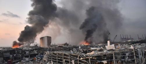 حuissantes explosions à Beyrouth. Crédit Photo : tbf.be
