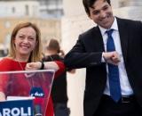 Francesco Acquaroli candidato alla presidenza della Regione Marche e la leader di Fratelli d'Italia Giorgia Meloni.