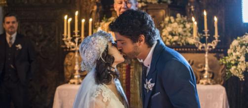 Foto do casamento de Inácio e Lucinda na 'Novela Tempo de Amar'. (Reprodução/TV Globo)