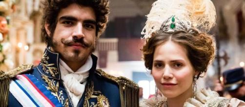O casal Dom Pedro e Leopoldina em 'Novo Mundo'. (Reprodução/TV Globo)