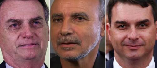 Jair Bolsonaro, Fabrício Queiroz e Flávio Bolsonaro se envolvem em suposto esquema de rachadinha. (Fotomontagem)
