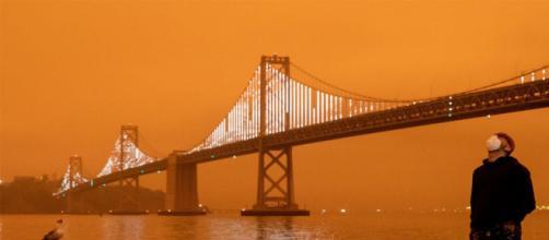 El cielo de San Francisco lució totalmente naranja el miércoles 9 de septiembre. Foto: AFP.