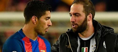 Luis Suarez e Gonzalo Higuain - foto di thesun.co.uk