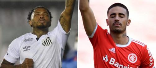 Os atacantes Marinho (Santos) e Thiago Galhardo (Internacional) são os artilheiros do Brasileirão em 2020 até o momento. (Arquivo Blasting News)