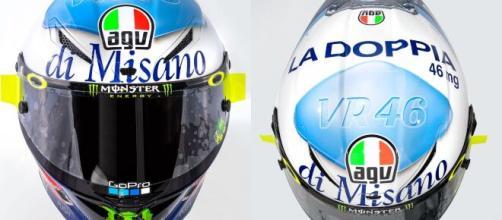 Il casco speciale di Valentino per il doppio appuntamento di Misano.