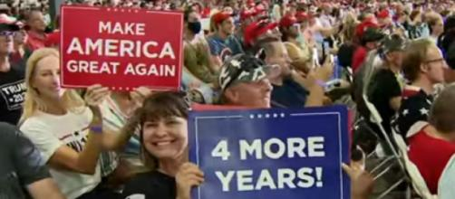 Donald Trump holds indoor rally in defiance of Nevada governor and coronavirus. [Image source/The Telegraph YouTube video]
