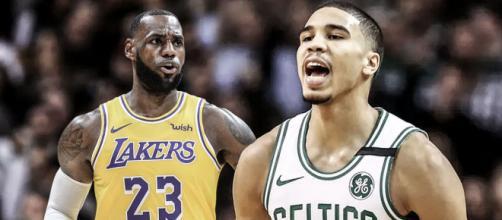 LeBron James e Jayson Tatum são os principais nomes na reta final da NBA. (Arquivo Blasting News)