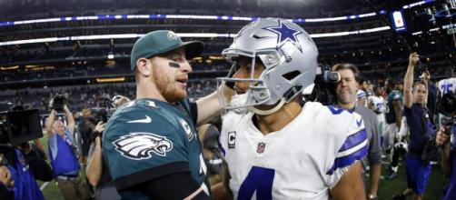 Wentz e Prescott estão entre os principais nomes da conferência leste nacional da NFC por Eagles e Cowboys. (Arquivo Blasting News)