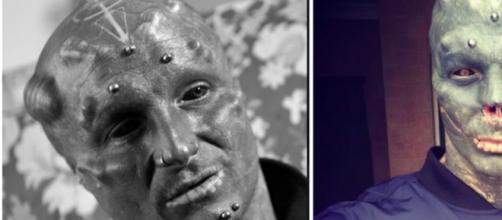 Prêt à tout pour devenir un Alien vivant il se fait enlever le nez - Photo montage Instagram