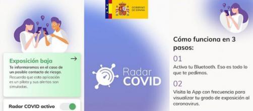 La interfaz de la aplicación Radar COVID es de muy simple uso.