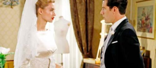 Il Paradiso delle Signore, Ludovica Brancia promessa sposa di Riccardo Guarnieri, in abito nuziale.