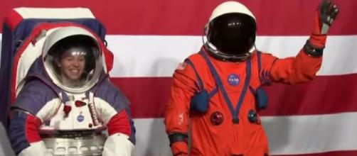 NASA Unveils 2 New Spacesuits for Moon Mission. [Image source/VOA News YouTube video]