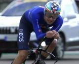Filippo Ganna impegnato nella cronometro dei Mondiali di Imola.