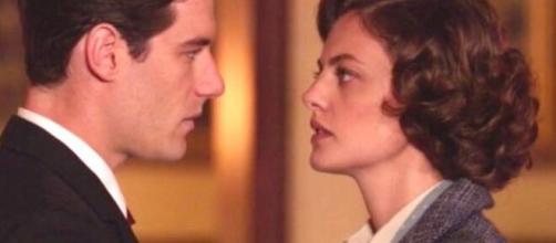 Il Paradiso delle Signore, Federica Girardello alias Nicoletta Cattaneo insieme a Riccardo Guarnieri interpretato da Enrico Oetiker.