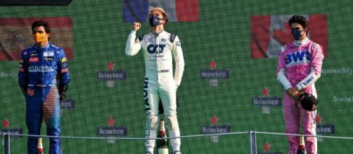 Formula 1, Gp d'Italia: Sainz (a sinistra) Gasly (al centro) e Stroll (a destra).