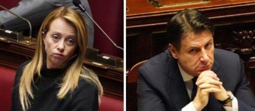 Giorgia Meloni critica Giuseppe Conte.