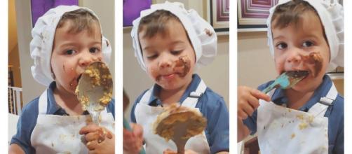 Little Chef Cade a crée l'hilarité générale avec sa recette de cookies, source : montage Instagram @littlechefcade