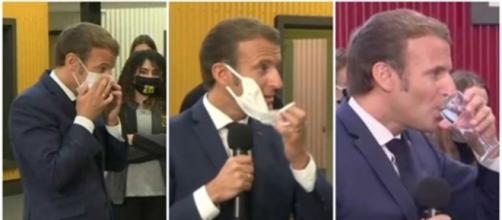 Le Président, pris d'une quinte de toux, a été contraint de retirer son masque en plein discours, source : Montage capture