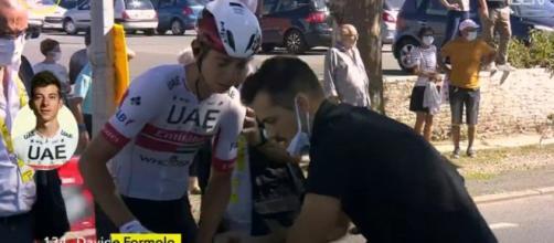 Davide Formolo dopo la caduta al Tour de France.