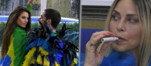 Da sinistra Tommaso Zorzi balla con Dayane Mello durante la serata brasiliana sotto gli occhi di una perplessa Stefania Orlando.