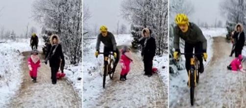 La vidéo d'un cycliste qui renverse une jeune fillette fait le buzz - ©montage vidéo