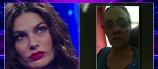 Da sinistra Dayane Mello e la madre che ha inviato un videomessaggio alla figlia nel corso della puntata del GF Vip dell'11 gennaio.
