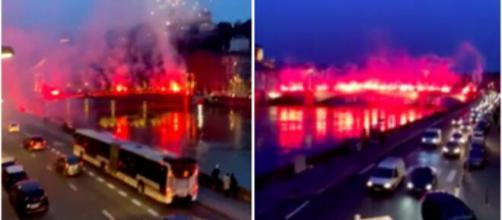 Les ultras winners fêtent leur anniversaire - Damien Rieu a des propos limites - Photo capture d'écran vidéo feu d'artifices