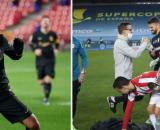 Antoine Griezmann tacle l'effectif, le vestiaire du Barça lui répond sèchement. Montage Photo