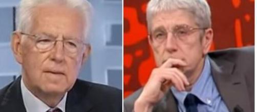 Mario Monti e Mario Giordano, il giornalista ha replicato al senatore a vita.