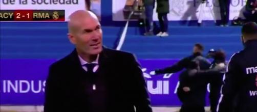 Vidéo: La réaction surprenante de Zidane après le but de la défaite en Coupe fait le buzz. ©ESPN Cpature