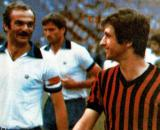 Sandro Mazzola e Gianni Rivera, capitani di Inter e Milan nella finale di Coppa Italia del 1977.