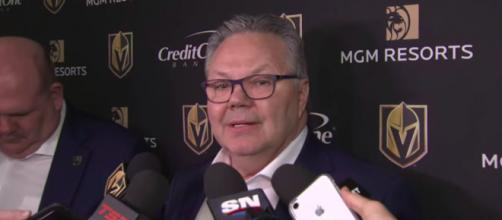 Golden Knights GM Kelly McCrimmon takes over after whole coaching staff has to isolate. ©Sportsnet YouTube Capture