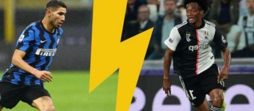 Nella foto Hakimi dell'Inter e Cuadrado della Juventus.