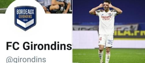 Le CM de Bordeaux trolle l'arbitrage et l'OL après le but de Dubois et la victoire de Lyon. Montage photo