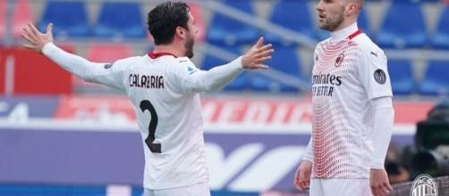 Calabria Rebic per il gol che sblocca il risultato a favore del Milan. Foto di acmilan.com