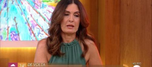 Fátima Bernardes se emociona no 'Encontro'. (Reprodução/TV Globo)
