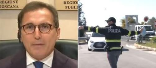 Il Ministro per Affari Regionali Francesco Boccia e un posto di blocco durante un periodo di divieto spostamenti.