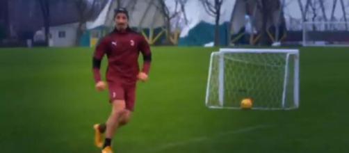 Zlatan Ibrahimovic, gol in allenamento.